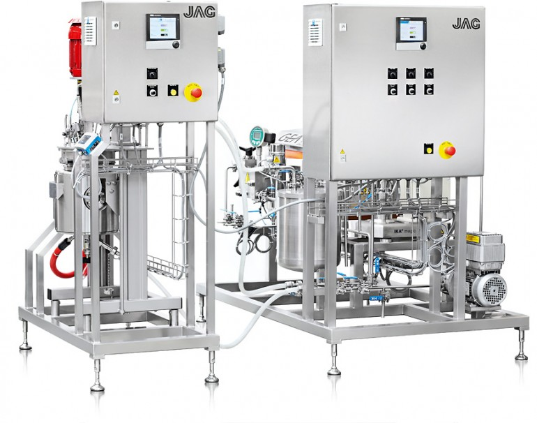 Skid 1: Reactor (agitation autoclave), heating unit, control cabinet with data recorder   Skid 2: Pump, disperser, high pressure homogeniser, control cabinet with data recorder